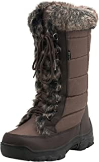 Women's Mid-Calf Lace Up Oxford Fabric Snow Boots E7623