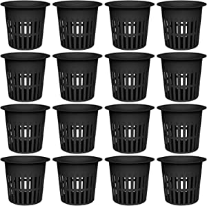 AxeSickle 4 Inch Plastic Net Cups Pots Plant Containers for Hydroponics Aquaponics Orchids, 16 Pcs Black