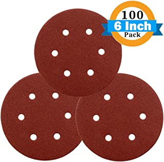 GORCHEN Sanding Discs 6inch 150mm Sander Pads Sheets, Hook and Loop 40, 60, 80, 100, 120, 180, 240, 320, 400, 600 Grits 6-Holes Sandpaper Assorted for Random Orbital Sander Total 100 Pieces