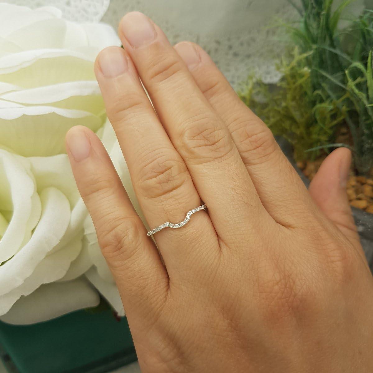 Dazzlingrock Collection 0.11 Carat (ctw) Round White Diamond Ladies Wedding Anniversary Guard Ring Band, 14K Gold