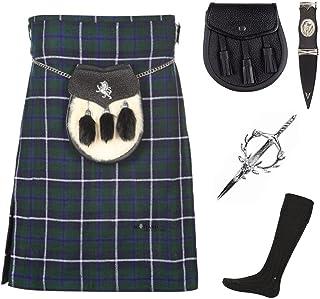 The Scotland Kilt Company Mens 5 Piece Kilt Package with Pin Hose and Sporran - Sizes 30-44 - Douglas Blue