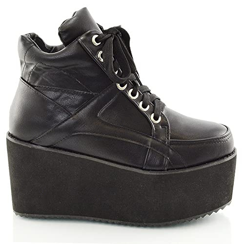 8c5e34ea3712ea LADIES CHUNKY CLEATED SOLE WOMENS PLATFORM LACE UP GOTH PUNK ANKLE BOOTS  SHOES SIZE 3 4