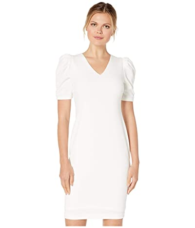 Calvin Klein Ruched Puff Sleeve Sheath Dress (Cream) Women