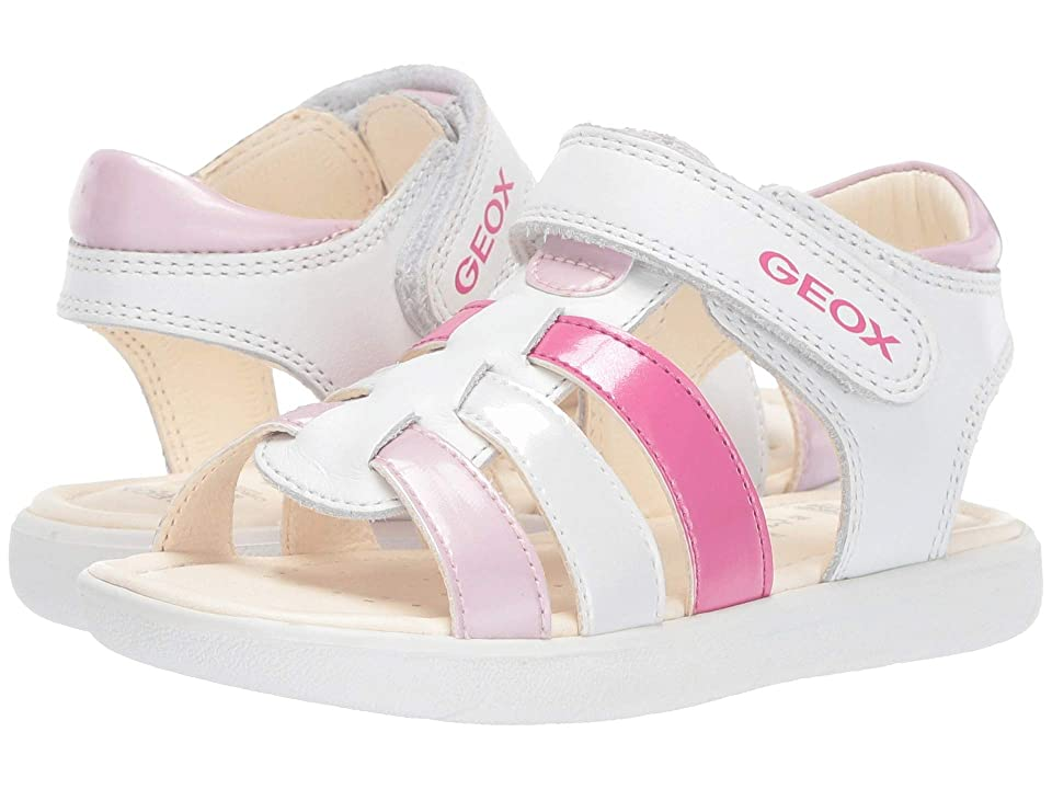 Geox Kids Alul Girl 5 Sandal (Toddler) (White/Pink) Girl