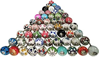 JGARTS 24 Shabby Chic Plain Dotted Polka Dot Candy Stripe Ceramic Knobs for Cabinets & Cupboards - Hand Painted Pulls
