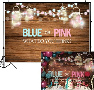 Mehofoto Baby Q BBQ Gender Reveal Baby Shower Backdrop 7x5ft Vinyl Mason Jars Pink or Blue Photography Background Rustic Wood Baby Shower Party Banner