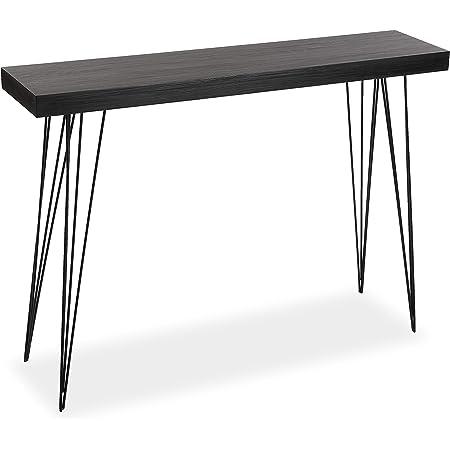 Versa Dark Dallas Meuble d'Entrée Étroit pour l'Entrée ou Couloir, Table Console, Dimensions (H x l x L) 80 x 25 x 110 cm, Bois et métal, Couleur Marron foncé