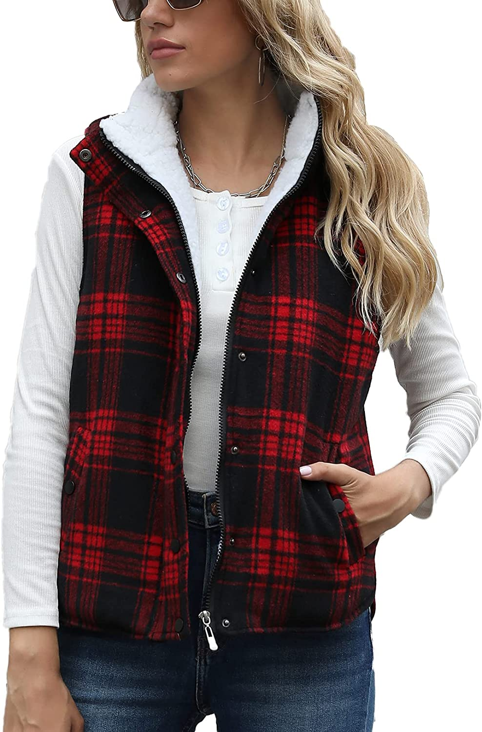 Women Stand Collar Plaid Padding Vest Fleece Zip Up Quilted Gilet Outwear with Pockets