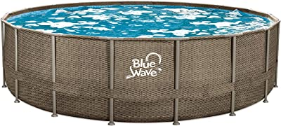 Blue Wave NB19798 24-ft Round 52-in Deep Dark Cocoa Wicker Frame Package Above Ground Swimming Pool, x, Brown