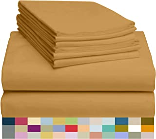 LuxClub 6 PC Bamboo Sheet Set w/ 18 inch Deep Pockets - Eco Friendly, Wrinkle Free, Hypoallergentic, Antibacterial, Fade Resistant, Silky, Stronger & Softer Than Cotton - Medallion Gold Queen