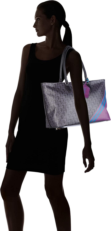 Trussardi Jeans 75b00548-9y099999, Sac à l'épaule Femme, Stampa, 38x27x17 cm (W x H x L) Nero (Black Violet)