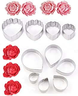 Buytra 10 Pieces Stainless Steel Rose Petal and Peony Flower Fondant Cutters, Gumpaste Cutters, Cookie Cutters, Cake Decortaing Modelling Tools for Wedding Cakes, Fondant Decor