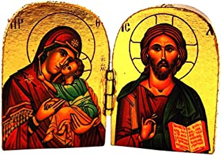 L&M Jesus Christ Pantocrator with Virgin of Glikofilousa Wooden Icon Diptych, 2 Inch