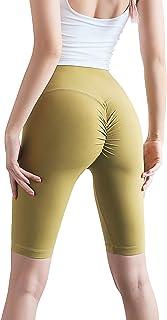 Mallas de yoga para mujer de Animque, cortas, de cintura alta, de color melocotón, jengibre M