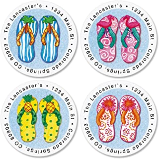 Flip-Flops Life Self-Adhesive, Flat-Sheet Round Address Labels (4 Designs)