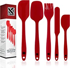 K-Brands Silicone Spatula Set - Heat Resistant & Non-Stick Spatulas with Stainless Steel Core for Cooking, Baking, and Mixing (Pack of 5, Red)