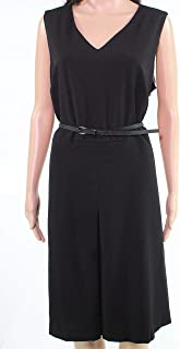 Lark & Ro Womens Dress Black US 14W Plus Belted Pleated Front A-line