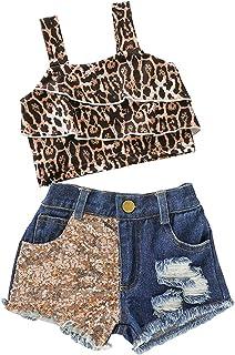 Camidy 0-24M 2pcs Kids Baby Girl Suit Leopard Print Strappy Vest Top + Denim Shorts Set