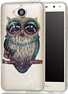 lYonge Huawei Y6 2017 Case, Huawei Y5 2017 Cover, lYonge shinning Glitter Flexible Soft Rubber Gel Clear Transparent TPU Silicone Back Case for Huawei Y6 2017/Y5 2017 Cover Case (Gray owl)