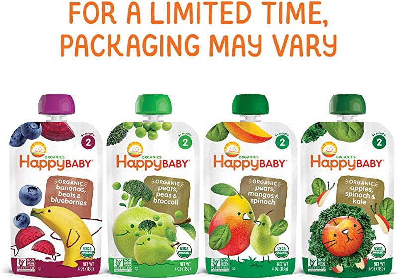 Happy Baby Organic Stage 2 Baby Food Simple Combos Variety Pack 4 Ounce Pouch Pack Of 16 Assorted Flavors Flavors May Vary