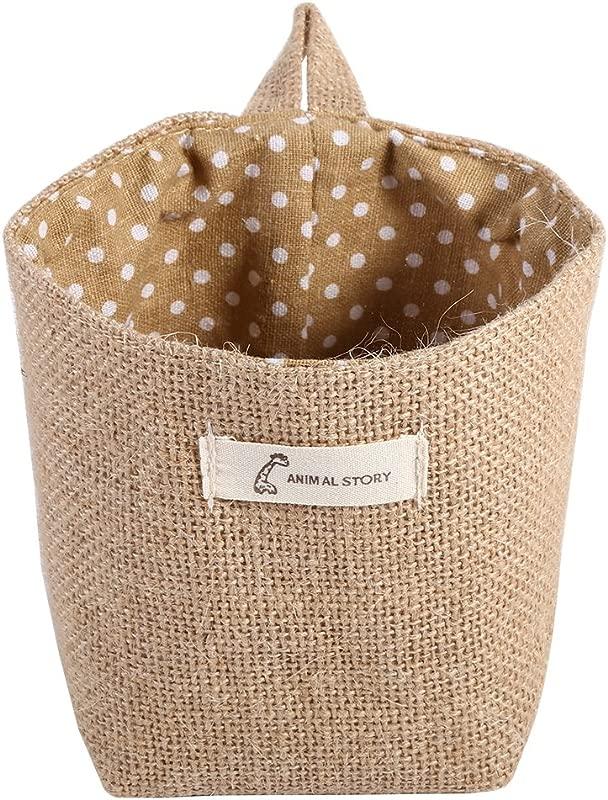 Fdit Cotton Linen Hamper Hanging Clothes Bag Home Gadget Storage Organizer Foldable Basket Bin Khaki Dots
