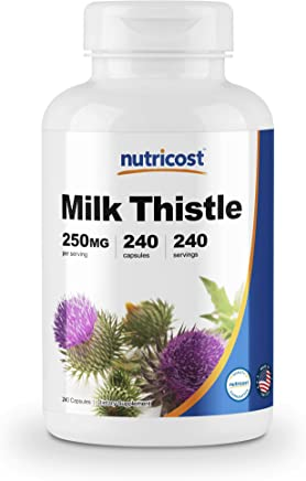 Nutricost Milk Thistle 250mg, 240 Veggie Capsules - Non-GMO, Gluten Free, and Made in The USA
