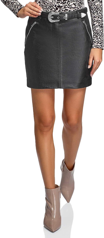 oodji Ultra Women's Belted Faux Leather Zipper Skirt