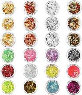 24 Cajas Nail Art Foil Gold Silver Foil Paillette Flake Nail Art Decoration