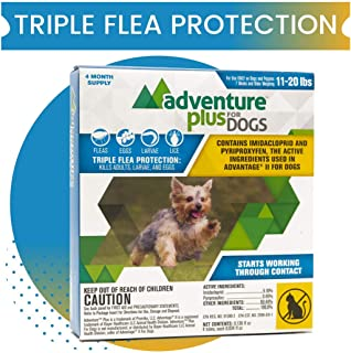 Adventure Plus Triple Flea Protection for Dogs, Medium 11-20 lbs, 4 Months, 4 Doses