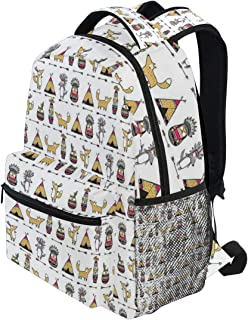 KVMV Funny Animals Native American Tribal Ethnic Elements Owls Wolfs Illustration Lightweight School Backpack Students College Bag Travel Hiking Camping Bags