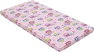 Best For Kids barnsängmadrasser, babymadrass 60 x 120 cm barn rullmadrass 5 cm av 100 % bomull (rosa)