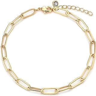 CCGUO سوار سلسلة ذهبية للنساء 14K Dainty Oval Link أساور الحد الأدنى من الذهب Jewerly