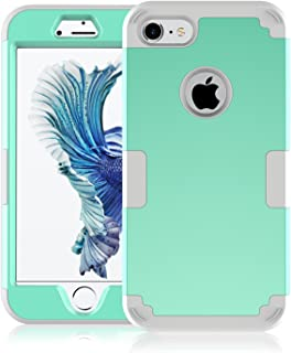 iPhone 7 Case, Speedup Hybrid Heavy Duty Shockproof Full-Body Protective Cover Case 3-Piece High Impact Hybrid Defender Case for Apple iPhone 7 (2016 Released) (Mint Green + Grey)