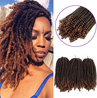 3 Pack Spring Twist Hair Braiding Xpression Bomb Ombre Colors Braiding Crochet Synthetic Fluffy Hair Extensions 8inch 110g(T1B-30)