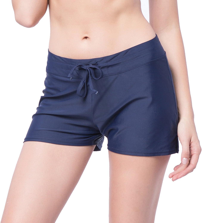 SEASUM Women's Side Shirred Swim Shorts Board Short Tankini Bottom Trunks | Plus Size | Comfort Quick Dry