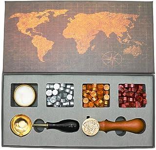 BITEYI Tampon de cire kit,Sceaux pour Cachet kit avec Perles de Cire d'étanchéité,Laiton Cachet Sceau,Cuillère à Cire,Coff...