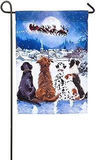Evergreen Christmas Dogs Satin Garden Flag, 12.5 x 18 inches