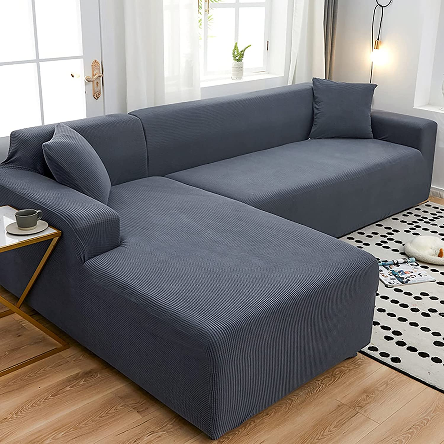 Wgreat Max Under blast sales 43% OFF Stretch Sectional Couch Covers L Sofa Shaped Soft Slipcov