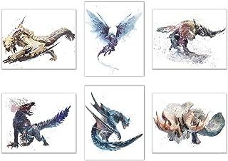Watercolor Monster Hunter World: Iceborne Prints - Set of 6 (8x10 Inches) Glossy Hunting Wall Art Decor - Banbaro - Barioth - Beotodus - Ebony Odogoron - Nargacuga - Velkhana