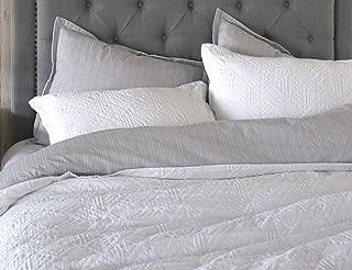 meadow park Matelasse Duvet Cover Set, 100% Cotton, Pre-Washed, Soft & Cozy, Woven Jacquard Textured, Modern Geo Design Bedding Set, King, White