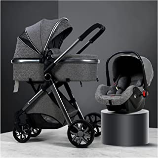 YQLWX Carseat och barnvagnar combo, 3 i 1 Justerbar högvy pushchairs och barnvagnar, barnvagn barnvagn reser systemvagn me...