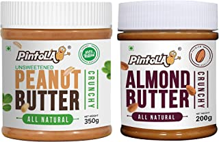 Pintola All Natural Peanut Butter (Crunchy) (350g) (Unsweetened, Non-GMO, Gluten Free, Vegan) + Pintola All Natural Almond...