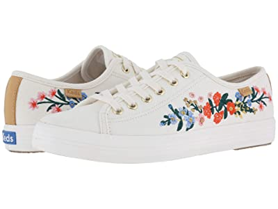 Keds x Rifle Paper Co. Kickstart Vines Embroidery (Snow White) Women