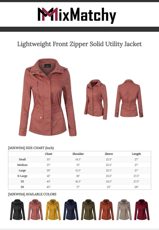 MixMatchy Women's Lightweight Front Zipper Solid Utility Jacket