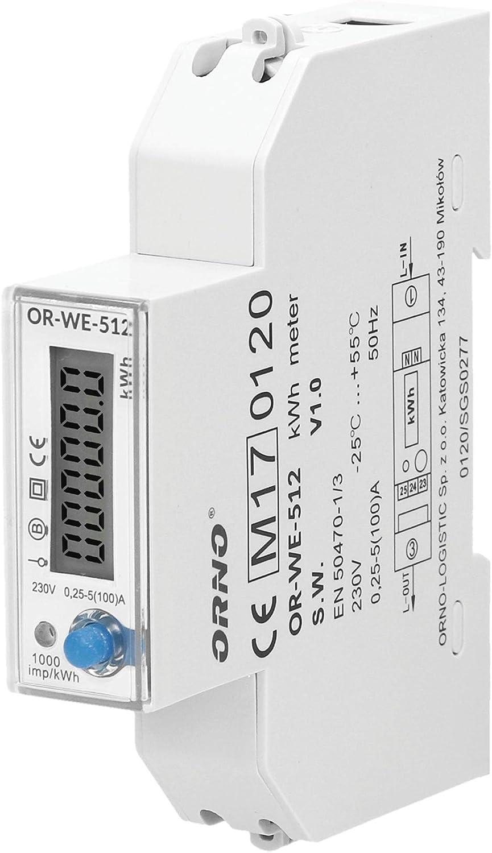 ORNO OR-WE-512 Medidor De Consumo Electrico Monofásico Con Certificado MID (Basic)