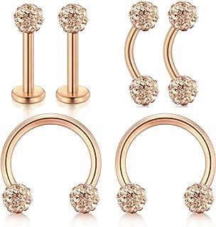16G Forwards Helix Conch Rook Tragus Cartilage Earrings Vertical Piercing Rings Lip Larbet Studs Monroe Medusa Piercing 3 Style Pack 6/8/10/12mm