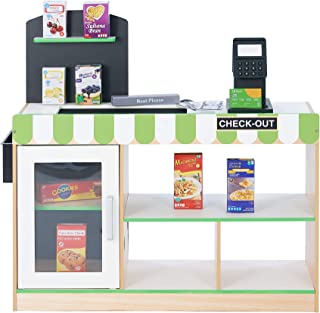 Teamson Kids - Cashier Austin Wooden Fresh Mart Market Grocery Store Pretend Play Stand with 26 Accessories - Green / Wood