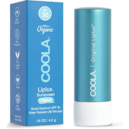 COOLA Organic Liplux Sunscreen Lip Balm, Lip Care for Daily Protection, Broad Spectrum SPF 30