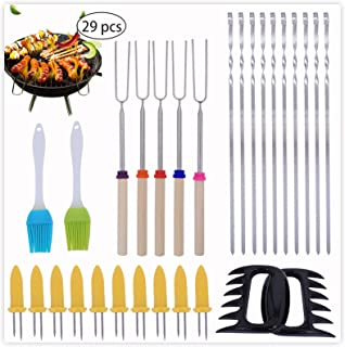 PROKITCHEN BBQ Grill Tools Set,29 PCS Barbecue Utensil with Stainless Steel Skewers for Barbecue,32 Inch Extendable Forks,...