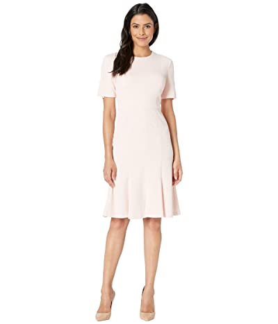 Donna Morgan Knit Fit and Flare Short Sleeve Dress (Pink) Women